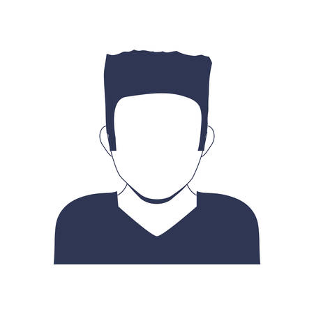 torso: Avatar male concept represented by man head and torso silhouette icon. Isolated and flat illustration Illustration