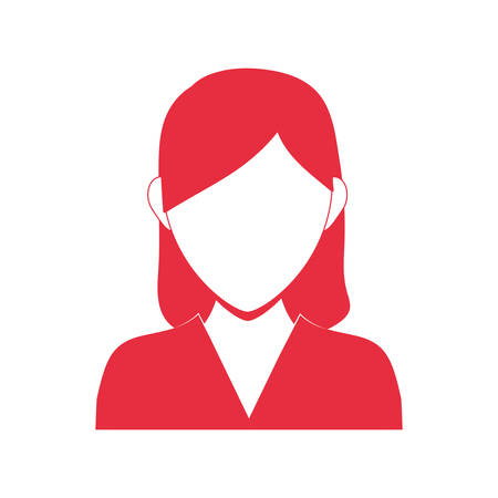 torso: Avatar female concept represented by woman head and torso silhouette icon. Isolated and flat illustration