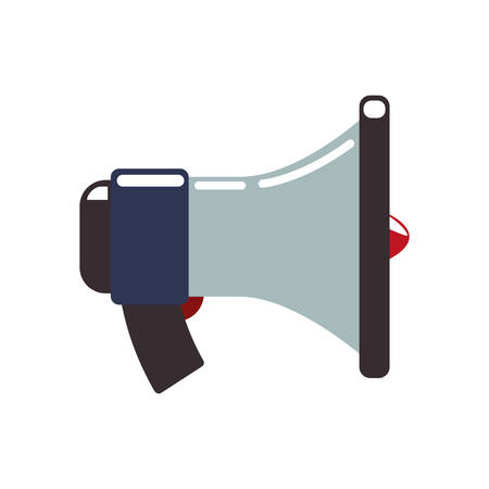 represented: Communication concept represented by Megaphone icon. Isolated and flat illustration