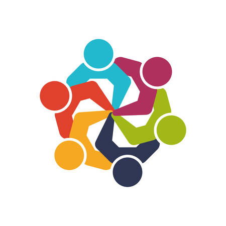 Abstract people and support concept represented by teamwork icon. Isolated and flat illustration Illustration