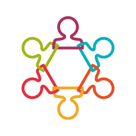 collaborative: Abstract people and support concept represented by teamwork icon. Isolated and flat illustration Illustration