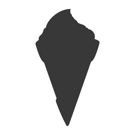 sorbet: Dessert and sweet concept represented by cone of ice cream silhouette icon. Isolated and flat illustration Illustration