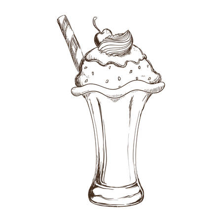 Dessert and sweet concept represented by cup of ice cream icon. Isolated and sketch illustration