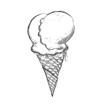 sorbet: Dessert and sweet concept represented by cone of ice cream icon. Isolated and sketch illustration