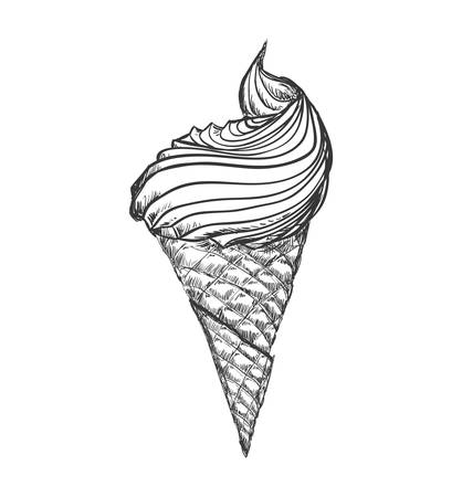Dessert and sweet concept represented by cone of ice cream icon. Isolated and sketch illustration
