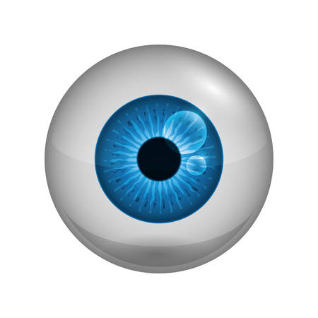 blue eye: View and look concept represented by blue eye icon. Isolated and flat illustration