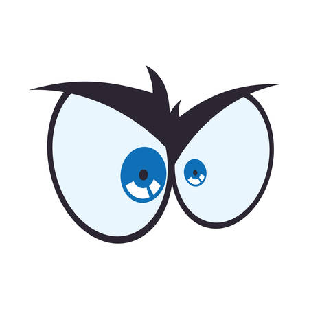 angry look: View look expression concept represented by angry cartoon eye icon. Isolated and flat illustration