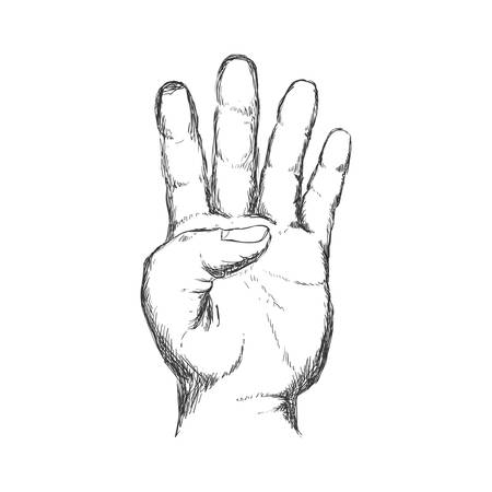 four hand finger gesture palm icon. Isolated and sketch illustration. Vector graphic Illustration