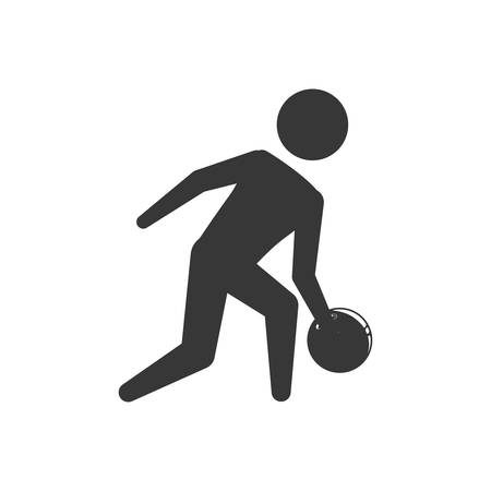 Player ball bowling sport game hobby icon. Isolated and flat illustration. Vector graphic