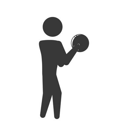 recreational pursuit: Player ball bowling sport game hobby icon. Isolated and flat illustration. Vector graphic
