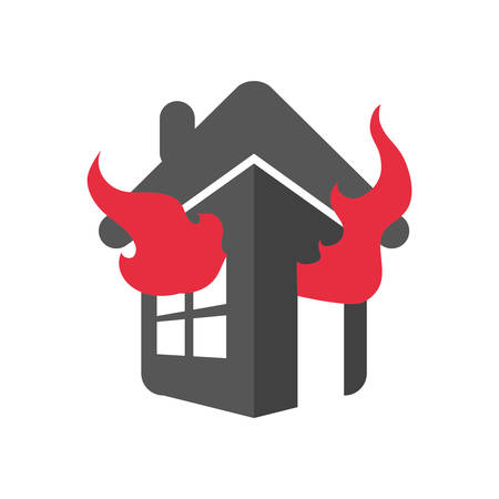 fire icon: flame fire house home insurance accident protection icon. Isolated and flat illustration. Vector graphic Illustration