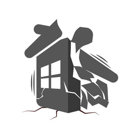 collapse: derrumbe de una casa icono de protección contra accidentes de seguros de hogar. ilustración y plana. gráfico vectorial