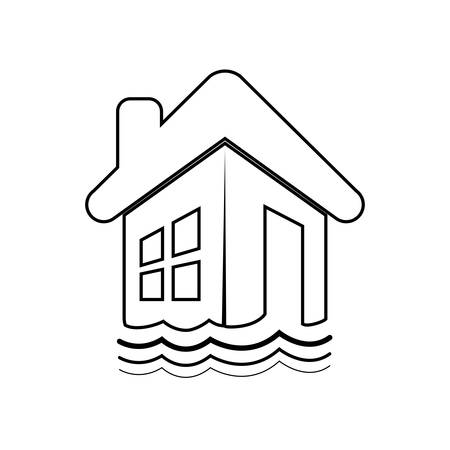 house flood: flood house home insurance accident protection icon. Isolated and flat illustration. Vector graphic