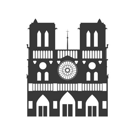 french culture: notre dame building paris france icon. Isolated and flat illustration. Vector graphic