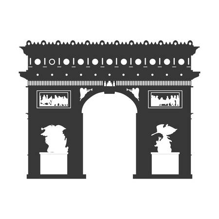 french culture: arch of triumph paris france building icon. Isolated and flat illustration. Vector graphic