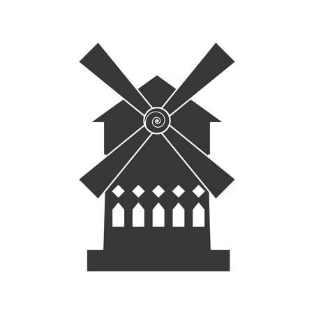 french culture: wind mill house building france icon. Isolated and flat illustration. Vector graphic