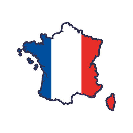 french culture: map flag white blue red france icon. Isolated and flat illustration. Vector graphic