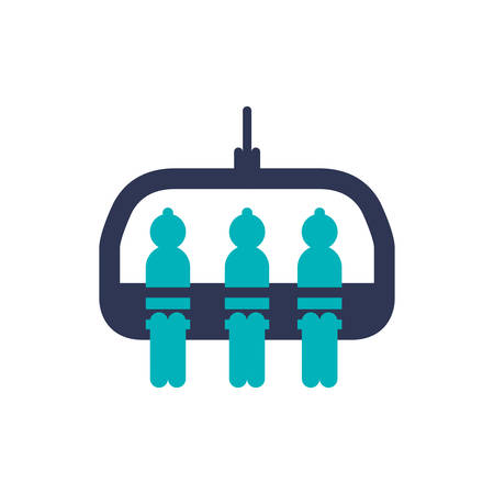 Cable car transportation air cabine winter icon. Isolated and flat illustration. Vector graphic