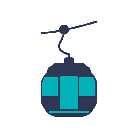 winter car: Cable car transportation air cabine winter icon. Isolated and flat illustration. Vector graphic
