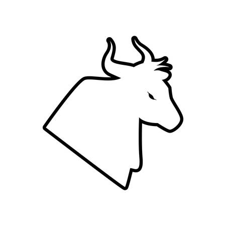 bull horn: bull horn animal silhouette farm icon. Isolated and flat illustration. Vector graphic