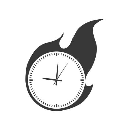 fire circle: clock flame fire circle time traditional icon. Isolated and flat illustration. Vector graphic