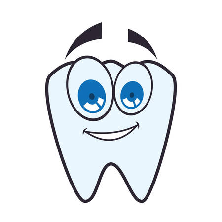 tooth cartoon happy dental care health hygiene icon. Isolated and flat illustration. Vector graphic