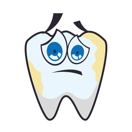 tooth dirty cartoon dental care health hygiene icon. Isolated and flat illustration. Vector graphic Illustration