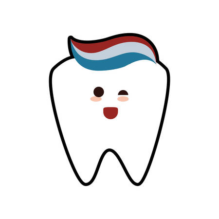 tooth paste cartoon dental care health hygiene icon. Isolated and flat illustration. Vector graphic Illustration