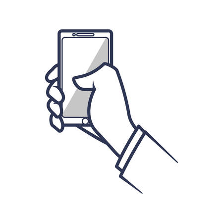 smartphone hand mobile gadget technology icon. Isolated and flat illustration. Vector graphic