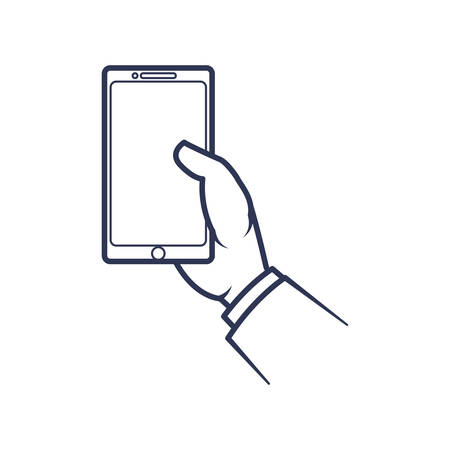 smartphone in hand: smartphone hand mobile gadget technology icon. Isolated and flat illustration. Vector graphic