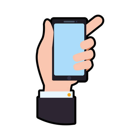 smartphone hand: smartphone hand mobile gadget technology icon. Isolated and flat illustration. Vector graphic