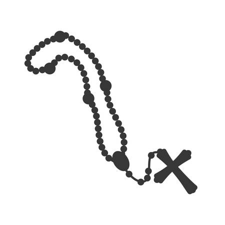 rosary nacklace cross religion icon. Isolated and flat illustration. Vector graphic Illustration