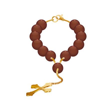 Rosenkranz nacklace Kreuz Religion Symbol. Isolierte und flache Abbildung. Vektorgrafik