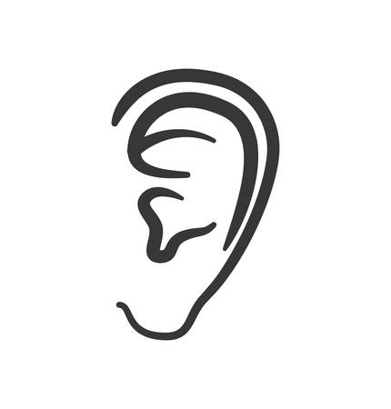 audible: ear human listen sound body part icon. Isolated and flat illustration. Vector graphic Illustration