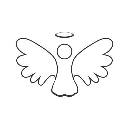 ángel silueta icono de hadas del ala cielo. ilustración y plana. gráfico vectorial
