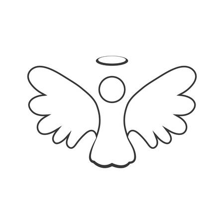ange silhouette ciel aile fée icône. Isolé et plat illustration. Vecteur graphique