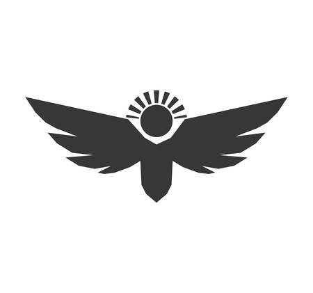 angelic: angel silhouette fairy wing heaven icon. Isolated and flat illustration. Vector graphic