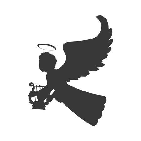 Engel Silhouette Fee Flügel Himmel Symbol. Isolierte und flache Abbildung. Vektorgrafik Standard-Bild - 60673505
