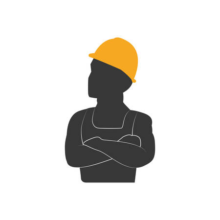reconstruction: helmet constructer worker industry icon. Isolated and flat illustration. Vector graphic Illustration