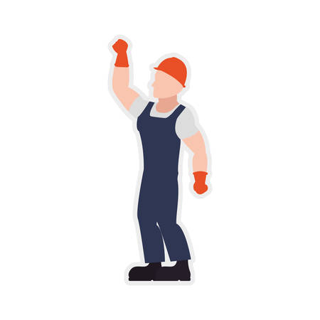 helmet gloves constructer worker industry icon. Isolated and flat illustration. Vector graphic