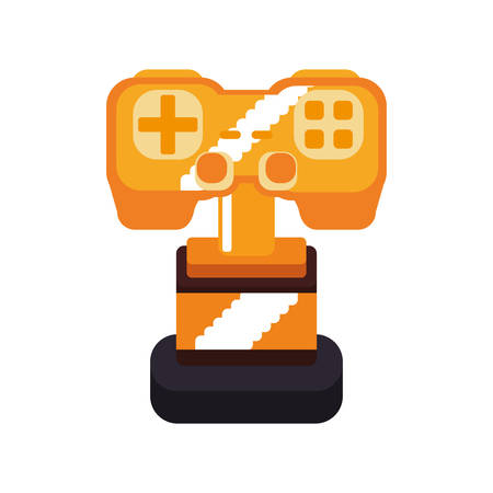 obsession: trophy control pixel video game play icon. Isolated and flat illustration. Vector graphic