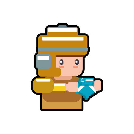 soldier male pixel video game play icon. Isolated and flat illustration. Vector graphic
