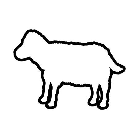 Sheep animal farm pet character icon. Isolated and flat illustration. Vector graphic