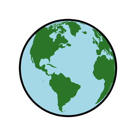 Planet map earth world sphere icon. Isolated and flat illustration. Vector graphic