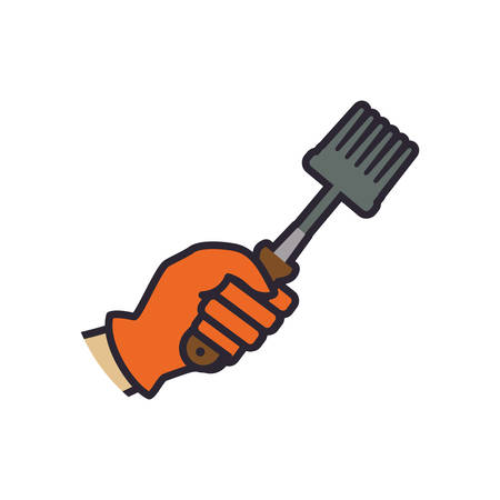 landscaped garden: Rake hand garden gardening tool icon. Isolated and flat illustration. Vector graphic Illustration
