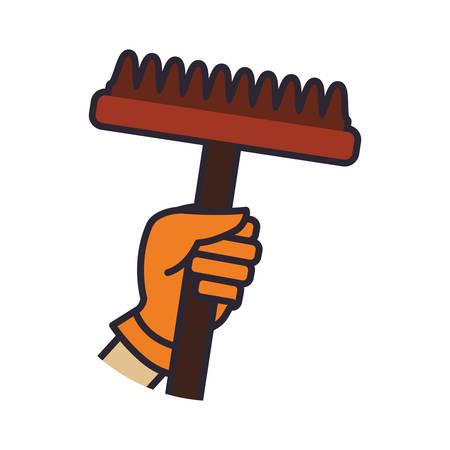 Rake hand garden gardening tool icon. Isolated and flat illustration. Vector graphic Illustration