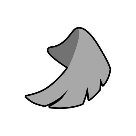 bird  celtic: Wing feather white decoration icon. Isolated and flat illustration. Vector graphic
