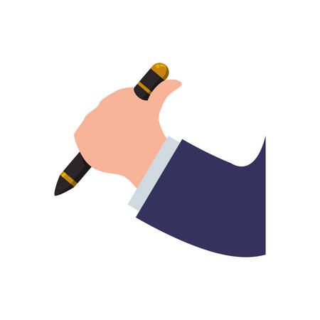 hand pen: Hand pen arm finger cloth icon. Isolated and flat illustration. Vector graphic