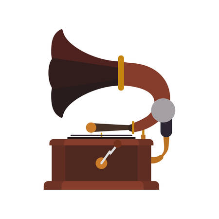 gramaphone: Gramaphone technology retro vintage icon. Isolated and flat illustration. Vector graphic