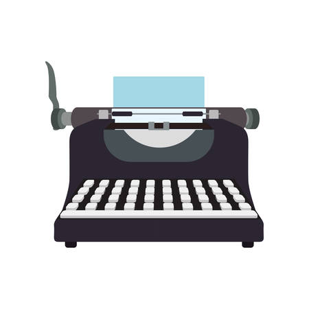 type writer: Write machine technology retro vintage icon. Isolated and flat illustration. Vector graphic